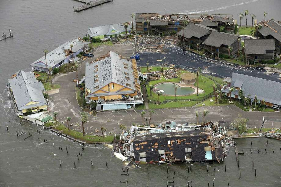 Damage caused by Hurricane Harvey to Key Allegro in Rockport, Texas is seen in a Sunday, Aug. 27, 2017 aerial photo. The eye of the Category 4 storm passed directly over Rockport as it made landfall late Friday night, Aug 25, 2017. Photo: William Luther, Staff / San Antonio Express-News / © 2017 San Antonio Express-News