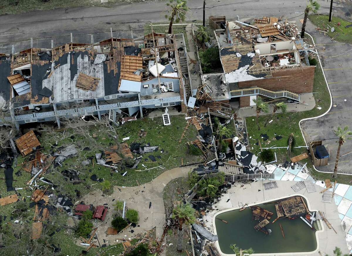 Damage caused by Hurricane Harvey to Rockport, Texas is seen in a Sunday, Aug. 27, 2017 aerial photo. The eye of the Category 4 storm passed directly over Rockport as it made landfall late Friday night, Aug 25, 2017.