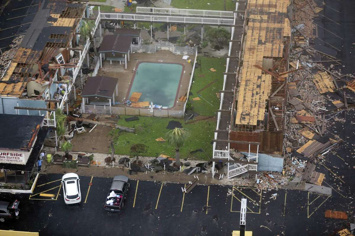 Damage to the Surfside Inn and Suites in Rockport, Texas is seen in a Sunday, Aug. 27, 2017 aerial photo. Rockport saw a direct hit Friday night Aug. 25, 2017 from the Category 4 storm.