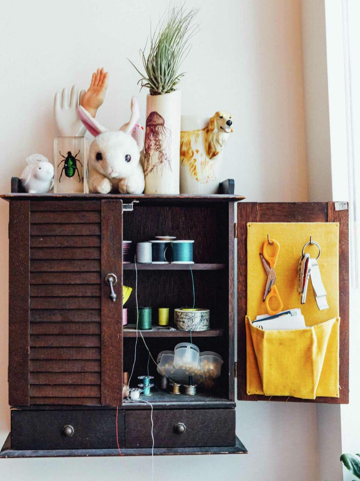 A cabinet inside Noah Steinman's studio in Norwalk.