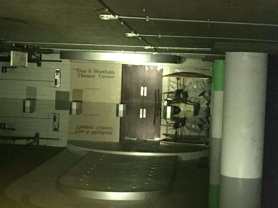 Flood gate and water in the Theater District parking garage. Photo: Houston First