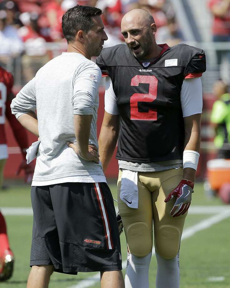 49ers quarterback Brian Hoyer (2) and coach Kyle Shanahan were together for one disastrous year in Cleveland in 2014. Photo: Jeff Chiu / AP / Copyright 2017 The Associated Press. All rights reserved.