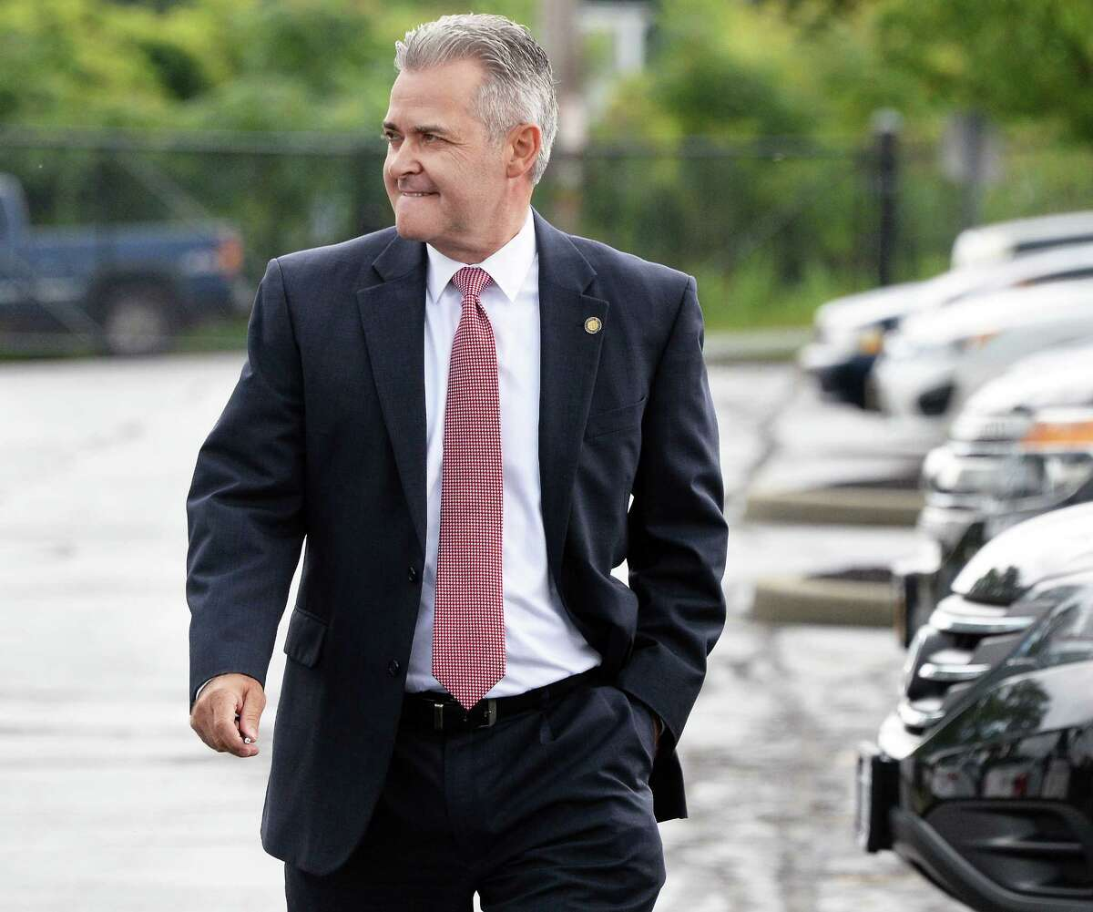 Rensselaer County Executive Candidate Steven McLaughlin arrives for a debate with his Republican primary opponent Chris Meyer Thursday Sept. 7, 2017 in Albany, NY. (John Carl D'Annibale / Times Union)