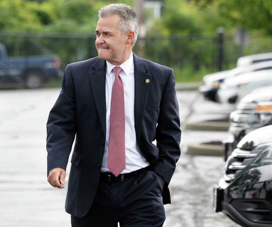 Rensselaer County Executive Candidate Steven McLaughlin arrives for a debate with his Republican primary opponent Chris Meyer Thursday Sept. 7, 2017 in Albany, NY.  (John Carl D'Annibale / Times Union) Photo: John Carl D'Annibale / 40041491A