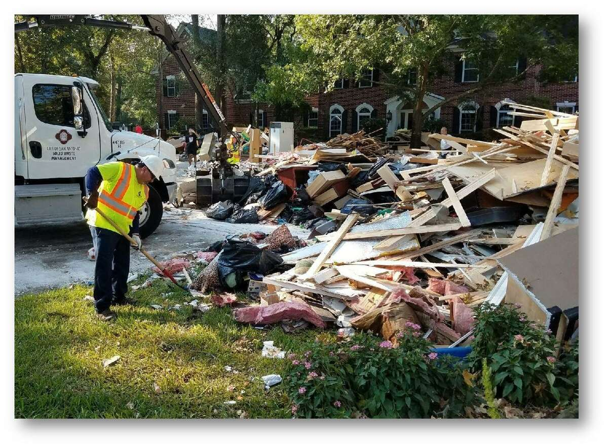 San Antonio Solid Waste Management dispatched 62 workers to Kingwood to clear storm debris through a mutual aid agreement with the city of Houston.