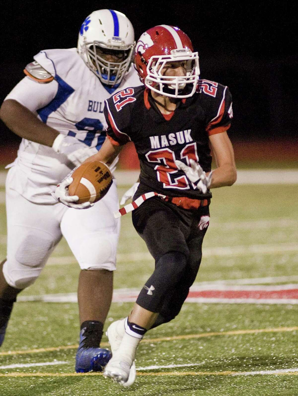 Masuk High School's Benjamin Vickowski carries the ball in a game against Bunnell High School, played at Masuk. Friday, Sept. 8, 2017