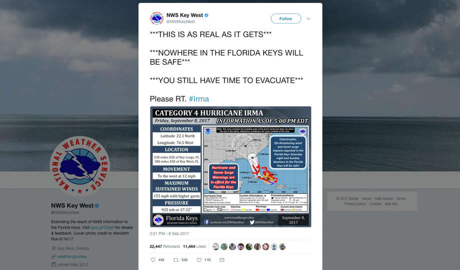 This tweet provided by the National Weather Service shows some of the words being used to warn people about Hurricane Irma and shock them into action, just as it did last month for Hurricane Harvey. Photo: HOGP / National Weather Service