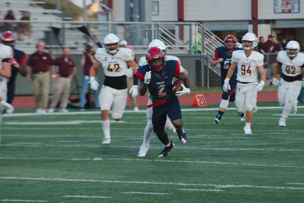 Dawson's Darrius Smith (2) finds running room against Deer Park in the first half Friday, Sep. 8 at Pearland High School.