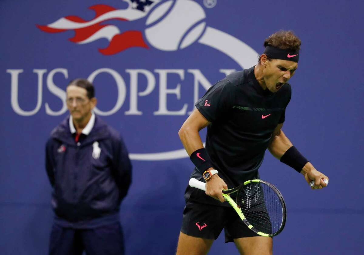 Rafael Nadal, of Spain, reacts after scoring a point against Juan Martin del Potro, of Argentina, during the semifinals of the U.S. Open tennis tournament, Friday, Sept. 8, 2017, in New York.