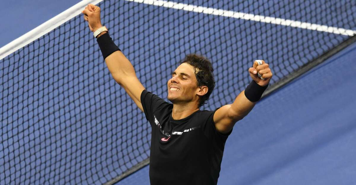 Rafael Nadal of Spain celebrates victory over Juan Martin del Potro of Argentina in their 2017 US Open Men's Singles semifinals match at the USTA Billie Jean King National Tennis Center in New York on September 8, 2017. / AFP PHOTO / DON EMMERTDON EMMERT/AFP/Getty Images