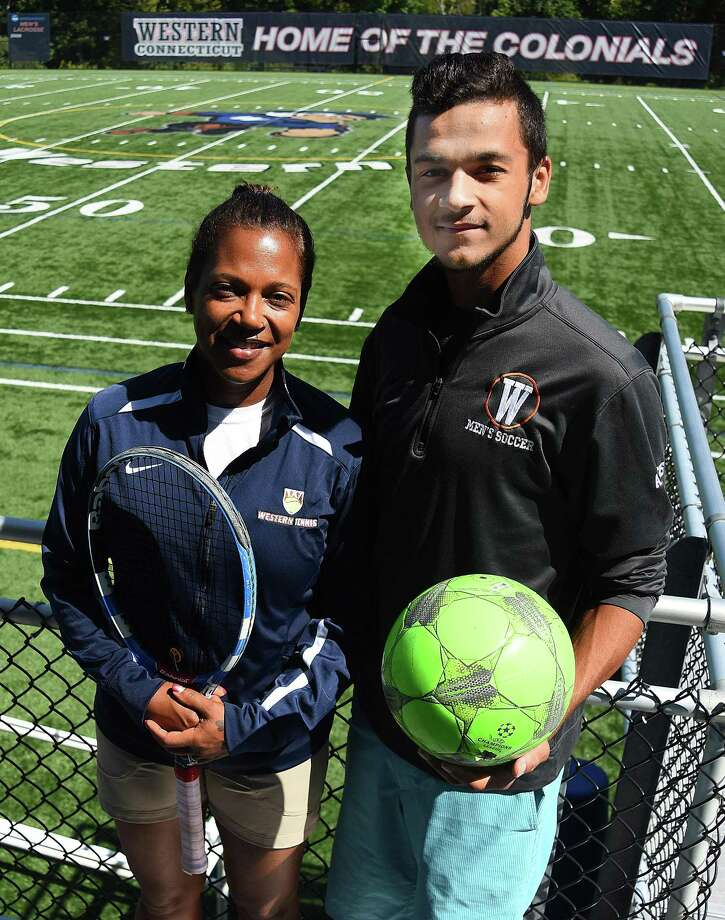 FILE PHOTO: Carole Allers, left, and her son, Chauncey, are both student-athletes at Western Connecticut State University in Danbury. The 45-year-old Allers is a junior who has returned to school full time and is playing tennis while her son is a sophomore on the men's soccer team. The family resides in Wilton. Photo: John Nash / Hearst Connecticut Media / Norwalk Hour
