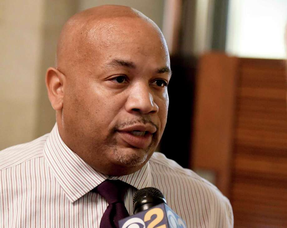 New York Assembly Speaker Carl Heastie, D-Bronx, speaks with reporters at the state Capitol on Tuesday, June 20, 2017, in Albany, N.Y. (AP Photo/Hans Pennink) ORG XMIT: NYHP110 Photo: Hans Pennink / Hans Pennink