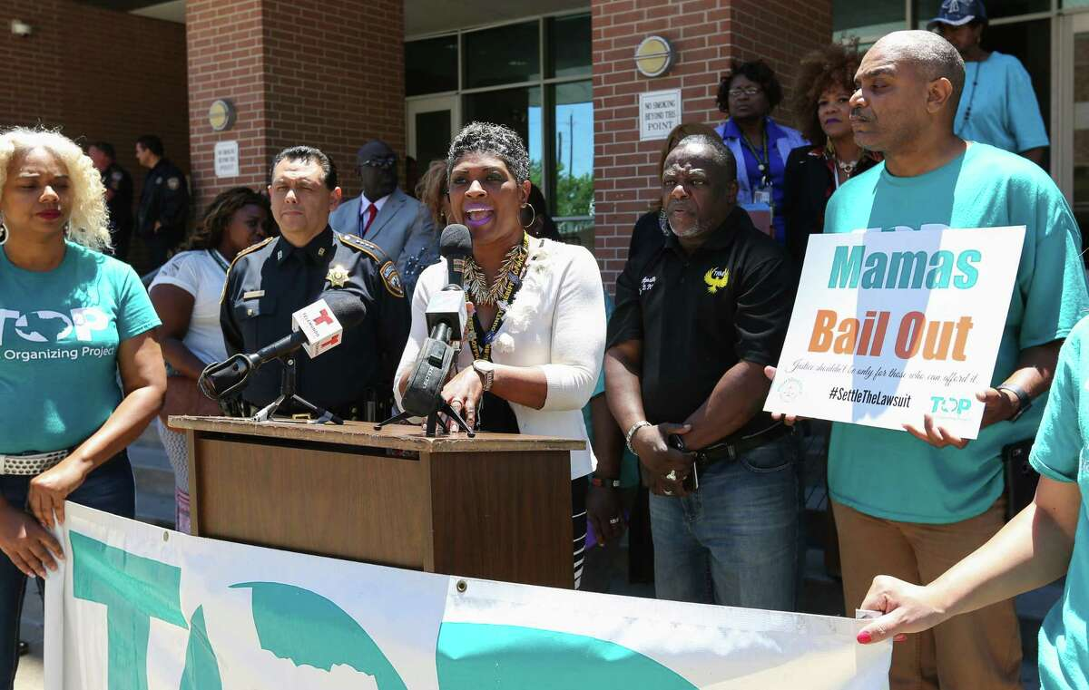 Harris County Sheriff's Office Director of Re-entry Program Jennifer Herring speaks during a press conference with the Texas Organizing Project about the group efforts to bail mothers out so they can be with their families on Mother's Day at Harris County Sheriff's Office Friday, May 12, 2017, in Houston. The press conference highlighted the unjust bail system in Harris County that keeps people in jail pretrial simply because they can't afford to post bond. ( Yi-Chin Lee / Houston Chronicle )