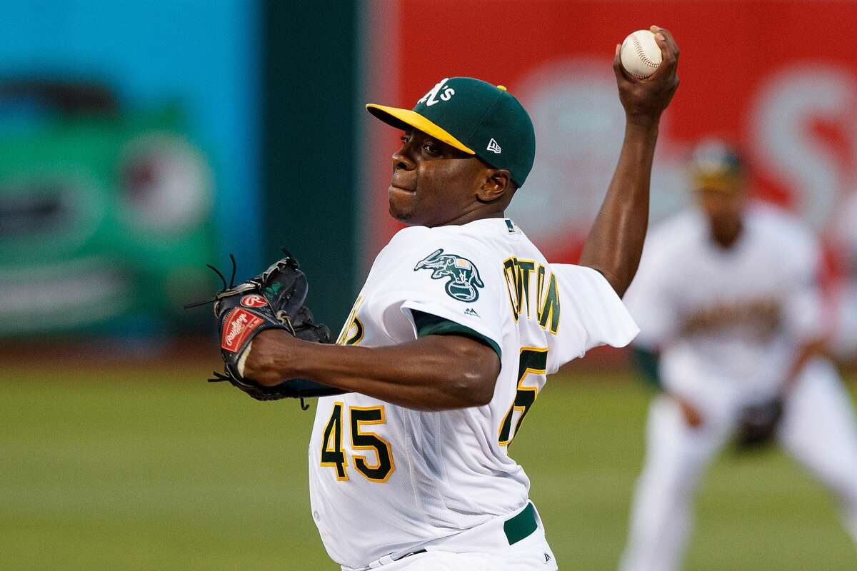 OAKLAND, CA - SEPTEMBER 08: Jharel Cotton #45 of the Oakland Athletics pitches against the Houston Astros during the first inning at the Oakland Coliseum on September 8, 2017 in Oakland, California. (Photo by Jason O. Watson/Getty Images)