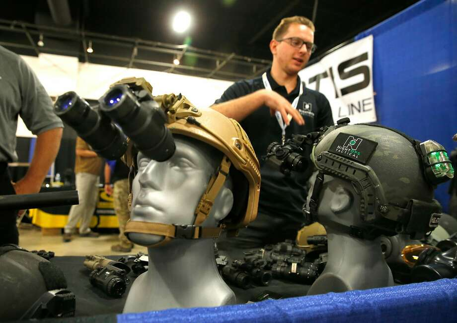 Vendor John McDonald displays his NightOps Tactical, Inc. night vision equipment during the first day of Urban Shield at the Alameda County Fairgrounds in Pleasanton, Ca., on Fri. September 8, 2017. Photo: Michael Macor, The Chronicle