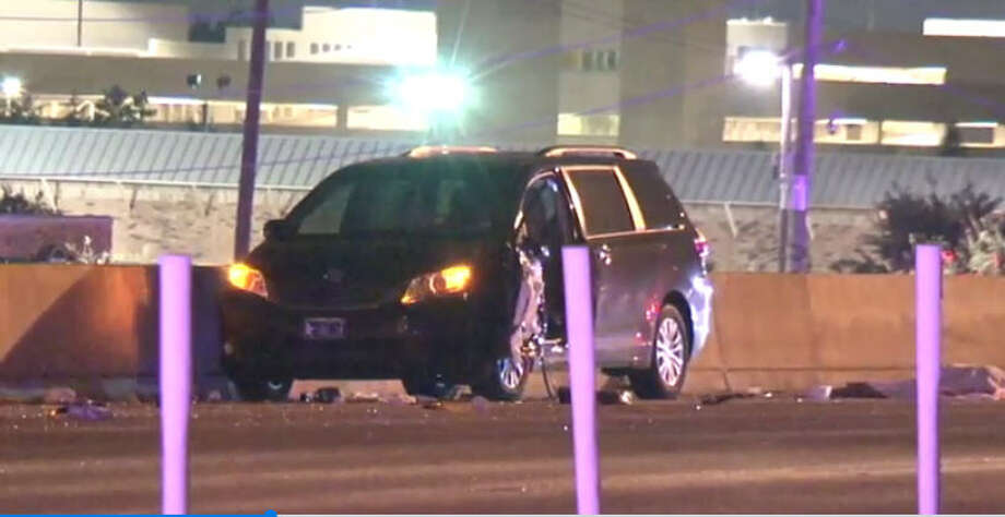 A man pushing his car after it ran out of gas was struck and killed Saturday morning on the Katy Freeway, according to the Houston Police Department. Photo: Metro Video
