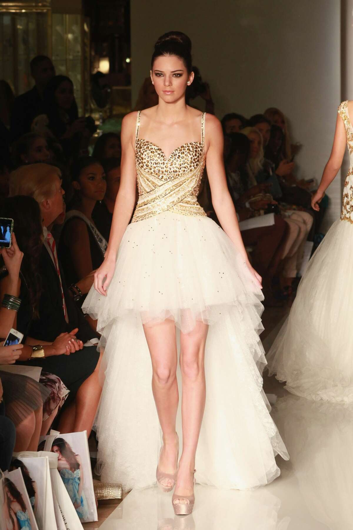 Kendall Jenner walks the runway during the Evening Sherri Hill spring 2013 fashion show during Mercedes-Benz Fashion Week at Trump Tower Grand Corridor on September 7, 2012. Keep clicking to see the evolution of Kendall Jenner's amazing modeling career.