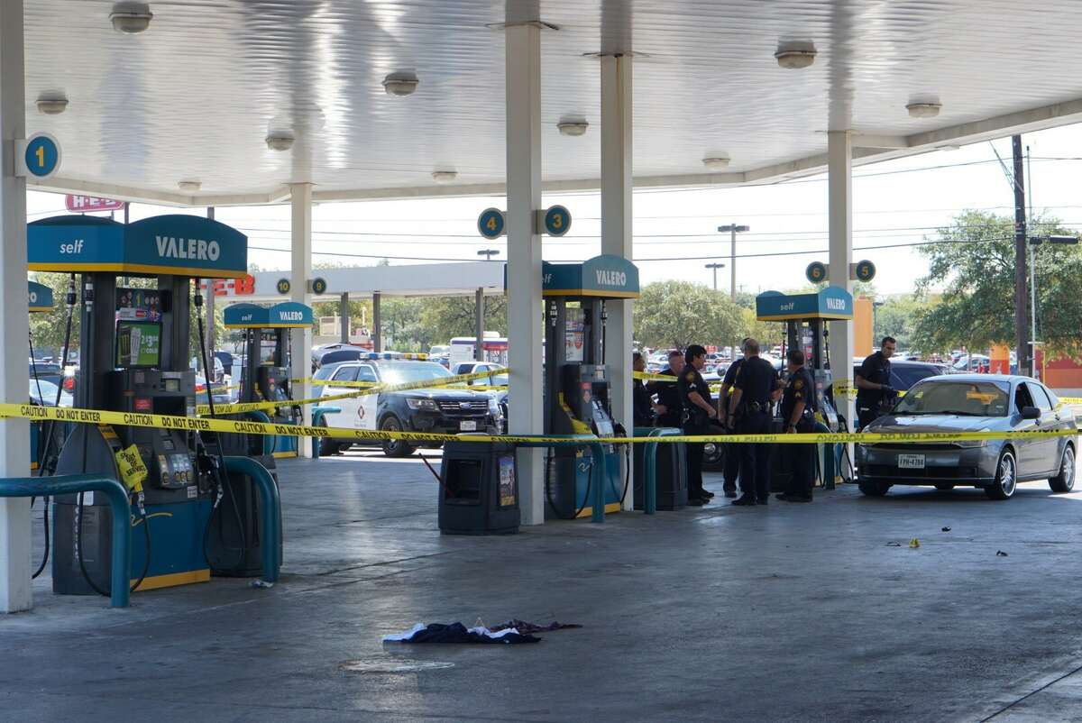 San Antonio police say one man was shot in the leg following an altercation at a West Side gas station Saturday afternoon, Sept. 9, 2017.