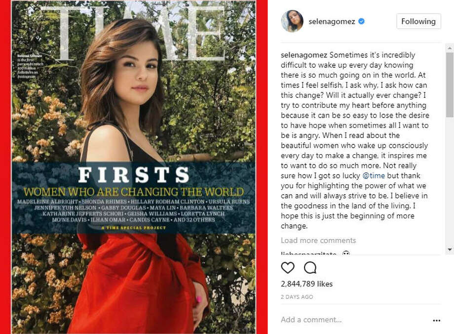 Selena Gomez in TIME's Firsts issue, as the First woman to reach 100 million followers on Instagram. Many people are outraged, arguing that's not an accomplishment compared to other women on the list.>> See who else made TIME's list.Photo: Selena Gomez Instagram
