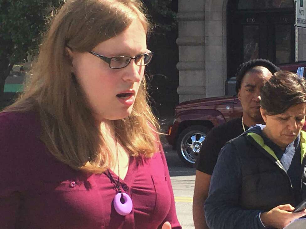 Morgan Hoag speaks out about bias against transgender women at a rally in Albany Saturday calling for leadership changes at the Pride Center of the Capital Region.
