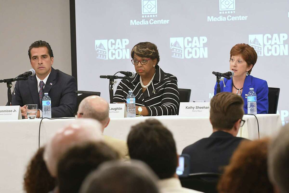 Councilman Frank Commisso Jr., left, Council President Carolyn McLaughlin, center, and incumbent Mayor Kathy Sheehan participate in Albany's Democratic mayoral candidate debate at the Hearst Media Center on Tuesday Aug. 29, 2017 in Colonie, N.Y. (Lori Van Buren / Times Union)
