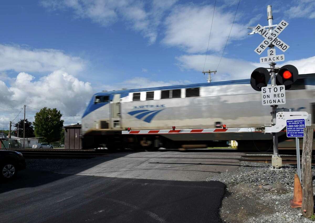 An Amtrak train rockets through Castleton-on-Hudson on Friday, Sept. 8, 2017, in Castleton-on-Hudson, N.Y. (Will Waldron/Times Union)
