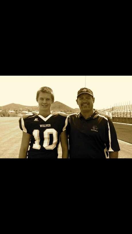 UH quarterback Kyle Allen with high school and Pop Warner coach Harper. Photo: Allen Family