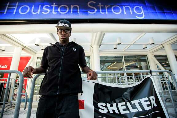 Damon Hale, 24, who is living in the shelter at the George R. Brown Convention Center after evacuating from his home in the aftermath of Tropical Storm Harvey, poses for a portrait on Friday, Sept. 8, 2017, in Houston. Since Hale did not have a formal lease prior to the storm, therefore can't get FEMA assistance.