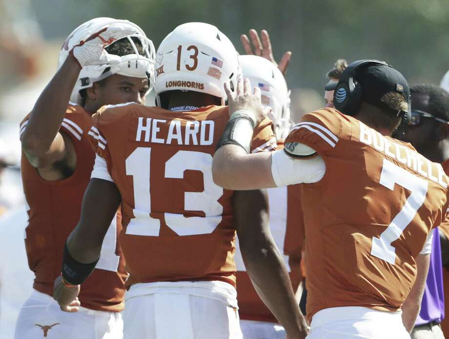 Jerrod Heard gets congratulations after his second touchdown as Texas hosts San Jose State at DKR Stadium on September 9, 2017. Photo: Tom Reel, Staff / San Antonio Express-News / 2017 SAN ANTONIO EXPRESS-NEWS
