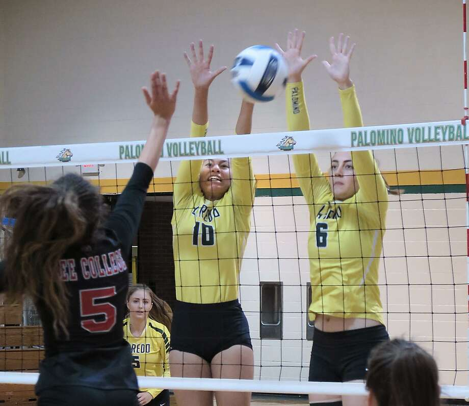 Karlee Lynd and Emily Morley defend for the Lady Palominos as they battle Lee College in s conference volleyball game Saturday, September 9, 2017 at the Maravillo Gym at the LCC Fort McIntosh Campus. Photo: Cuate Santos /Laredo Morning Times File / Laredo Morning Times