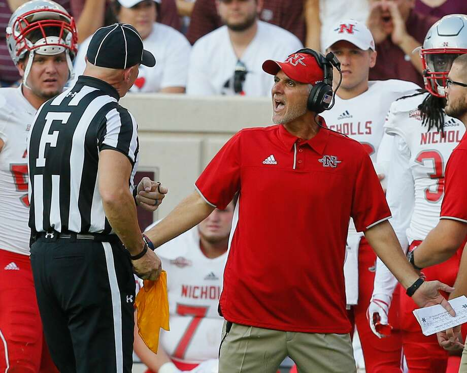 COLLEGE STATION, TX - SEPTEMBER 09:  Head coach Tim Rebowe of the Nicholls State Colonels argues with the field judge after he was flagged for unsportsman like conduct at Kyle Field on September 9, 2017 in College Station, Texas.  (Photo by Bob Levey/Getty Images) Photo: Bob Levey/Getty Images