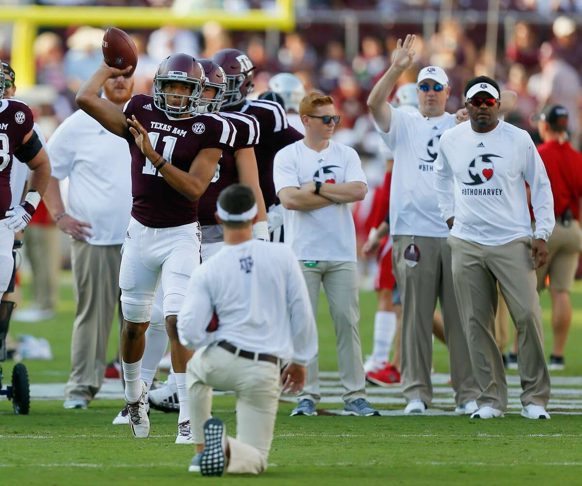 COLLEGE STATION, TX - SEPTEMBER 09: Kellen Mond #11 of the Texas A&M Aggies warms up before playing the Nicholls State Colonels at Kyle Field on September 9, 2017 in College Station, Texas. (Photo by Bob Levey/Getty Images)