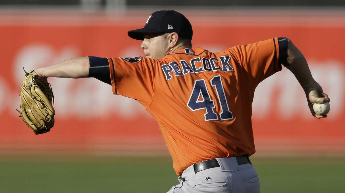 Houston Astros pitcher Brad Peacock works against the Oakland Athletics in the first inning of the second baseball game of a doubleheader on Saturday, Sept. 9, 2017, in Oakland, Calif. (AP Photo/Ben Margot)