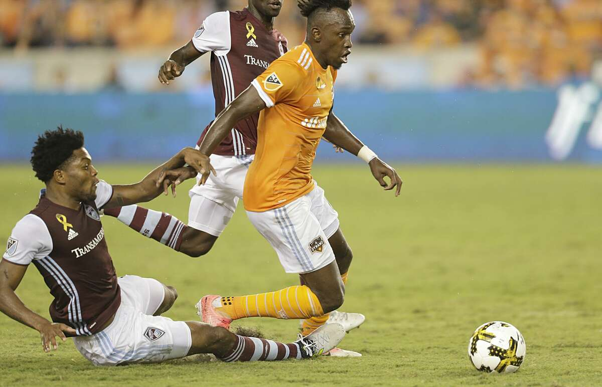 9/9/17: Colorado Rapids defender Mekeil Williams (5) trips Houston Dynamo forward Alberth Elis (17) in the second half in a MLS game at BBVA stadium in Houston, TX. Colorado Rapids won 1 to 0.