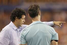 9/9/17: Houston Dynamo head coach Wilmer Cabrera complains to lines man while playing against the Colorado Rapids in the second half in a MLS game at BBVA stadium in Houston, TX. Colorado Rapids won 1 to 0.