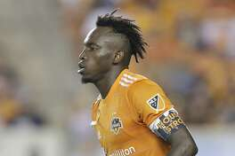9/9/17:  Houston Dynamo forward Alberth Elis (17) waters a Houston Strong armband while playing against the Colorado Rapids in the second half in a MLS game at BBVA stadium in Houston, TX. Colorado Rapids won 1 to 0.