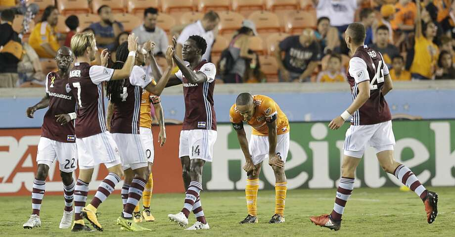 9/9/17: Colorado Rapids midfielder Dominique Badji (14) celebrates his goal agains the Houston Dynamo in the second half in a MLS game at BBVA stadium in Houston, TX. Colorado Rapids won 1 to 0. Photo: Thomas B. Shea/For The Chronicle