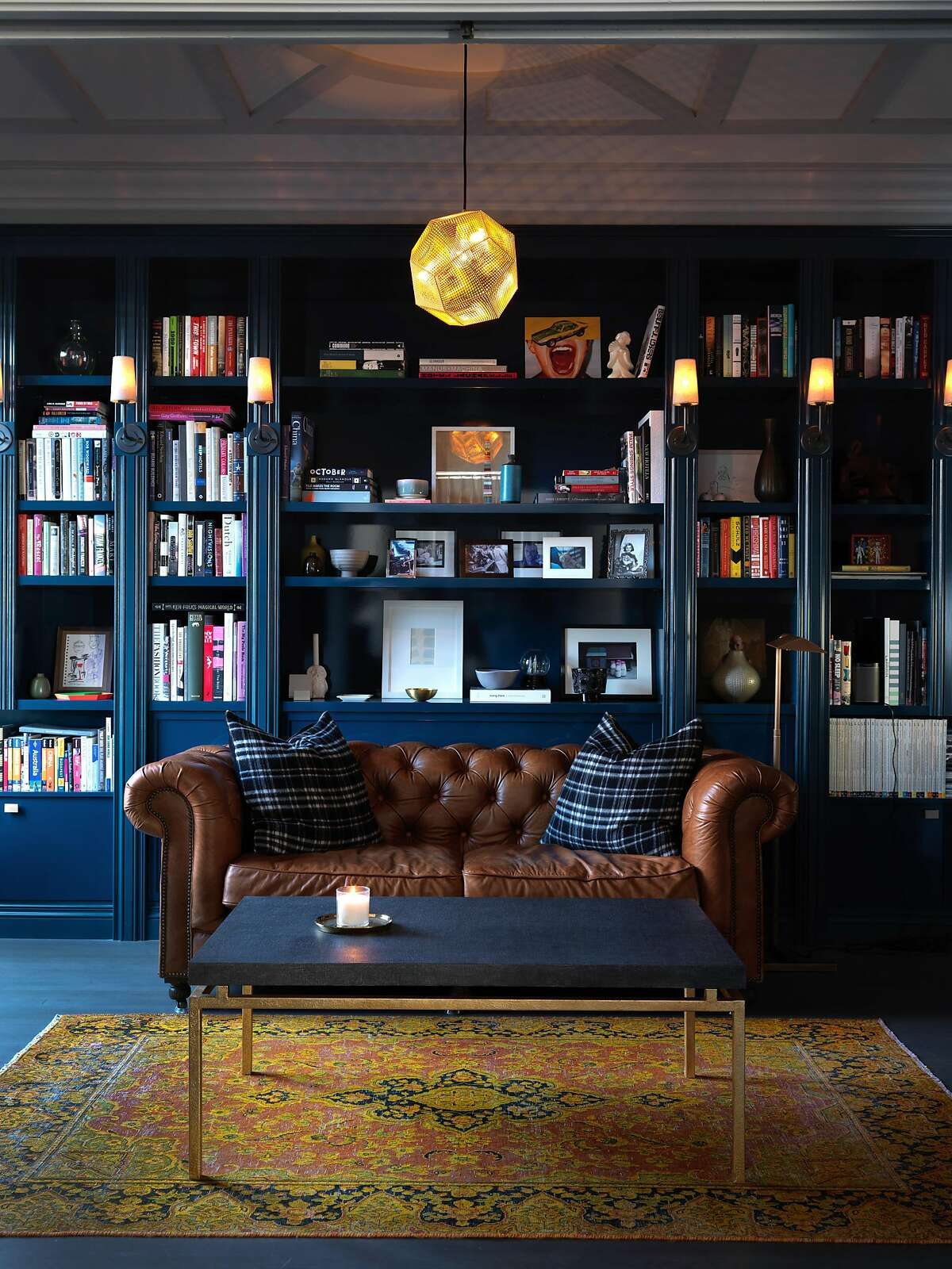 The library of a prewar apartment in Lower Nob Hill, owned by Daniel Maimin and Mark Savery, designed by Karen Curtiss of San Francisco�based Red Dot Studio.