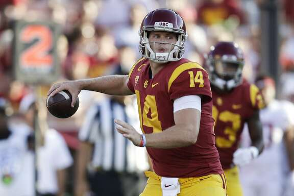 Southern California quarterback Sam Darnold throws a pass during the first half of an NCAA college football game against Stanford, Saturday, Sept. 9, 2017, in Los Angeles. (AP Photo/Jae C. Hong)