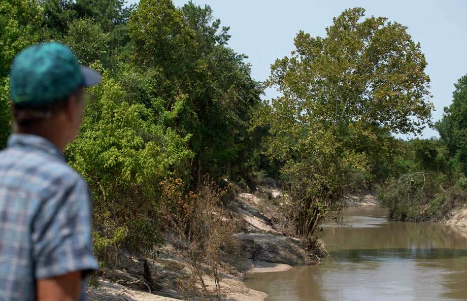 Ronald Schreiber, foreground, looks at the tree, center, where he found Luis Ortega holding on before being rescued from Cypress Creek. Photographed Sept. 6, in Spring, Texas, one week after the rescue. Photo: Godofredo A. Vasquez, Houston Chronicle / Godofredo A. Vasquez