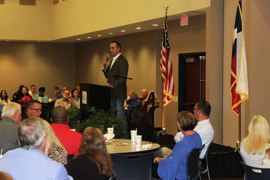 Texas House District 18 Representative Ernest Bailes gives an update on recent legislation and impact of Hurricane Harvey on the counties of Liberty, Walker and San Jacinto during the Greater Cleveland Chamber of Commerce luncheon on Sept. 7. Photo: Jacob McAdams