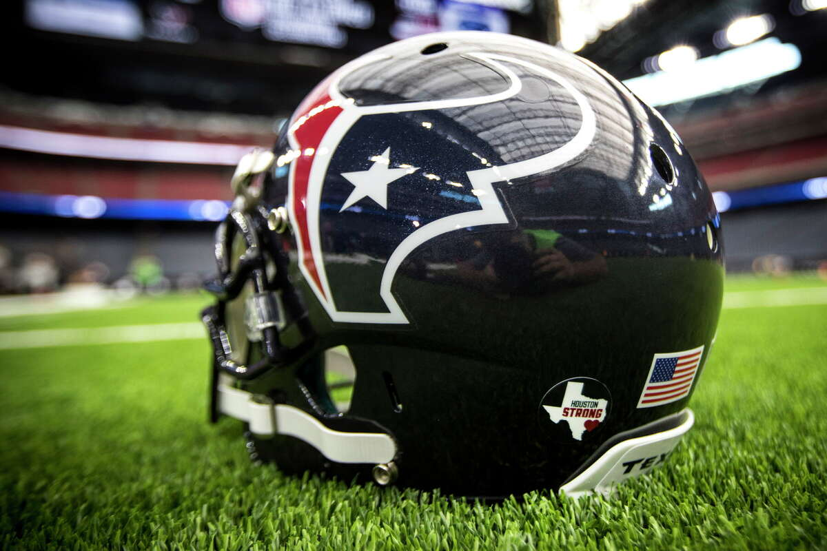 A Houston Strong decal, commemorating the city's recovery from Tropical Storm Harvey, is shown on the back of a Houston Texans helmet before an NFL football game against the Jacksonville Jaguars at NRG Stadium on Sunday, Sept. 10, 2017, in Houston. Sunday is the first game at home since the storm.