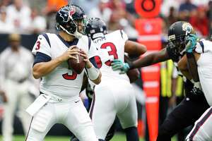 Houston Texans quarterback Tom Savage (3) looks to make a pass in the first quarter of an NFL football game at NRG Stadium, Sunday, Sept. 10, 2017, in Houston.