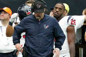 Houston Texans head coach Bill O'Brien drops his head after the Jacksonville Jaguars scored a touchdown during the second quarter of an NFL football game at NRG Stadium on Sunday, Sept. 10, 2017, in Houston.