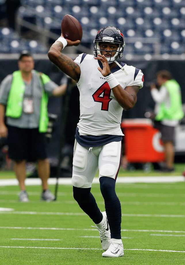 HOUSTON, TX - SEPTEMBER 10:  Deshaun Watson #4 of the Houston Texans warms up before playing the Jacksonville Jaguars at NRG Stadium on September 10, 2017 in Houston, Texas. Photo: Bob Levey, Getty Images / 2017 Getty Images