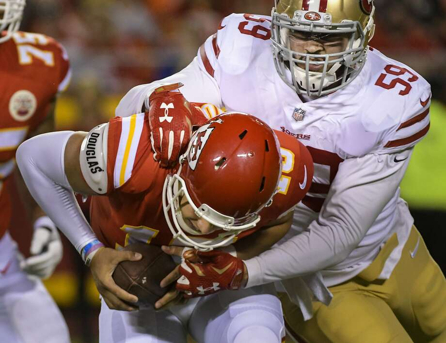 Kansas City Chiefs quarterback Patrick Mahomes (15) is sacked by San Francisco 49ers linebacker Aaron Lynch (59) during the first half of an NFL preseason football game in Kansas City, Mo., Friday, August 11, 2017. (AP Photo/Reed Hoffmann) Photo: Reed Hoffmann, Associated Press