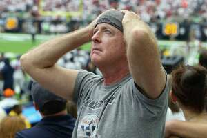A Houston Texans fan react to Jacksonville Jaguars touchdown during the second quarter of an NFL football game at NRG Stadium on Sunday, Sept. 10, 2017, in Houston.