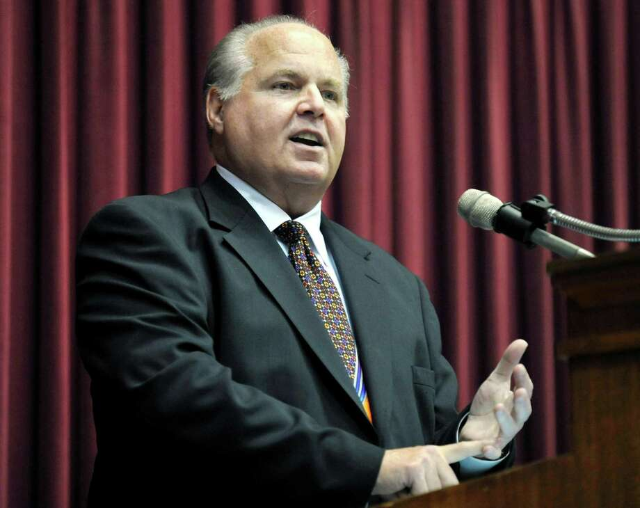 "FILE - This May 14, 2012 file photo shows conservative commentator Rush Limbaugh speaking during a ceremony inducting him into the Hall of Famous Missourians in the state Capitol in Jefferson City, Mo. Limbaugh has created a storm of his own by suggesting that the ""panic"" caused by Hurricane Irma benefits retailers, the media and politicians who are seeking action on climate change. Al Roker, the ""Today"" show weatherman, said on Wednesday, Sept. 6, 2017, that Limbaugh was putting people's lives at risk. (AP Photo/Julie Smith, File) Photo: Julie Smith / Associated Press / FR63796"