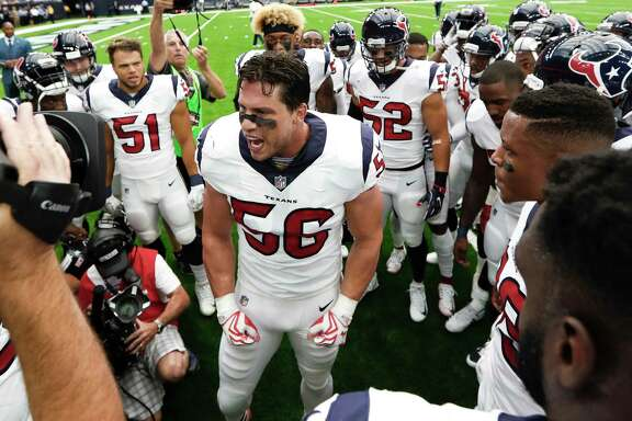 Houston Texans inside linebacker Brian Cushing (56) gathers his teammates in a pregame huddle before their game against the Jacksonville Jaguars at NRG Stadium on Sunday, Sept. 10, 2017, in Houston.
