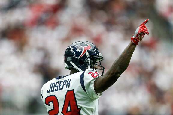 Houston Texans cornerback Johnathan Joseph (24) celebrates after making a stop on third down in the second half as the Houston Texans lose to the Jacksonville Jaguars 29-7 at NRG Stadium Sunday, Sept. 10, 2017 in Houston.